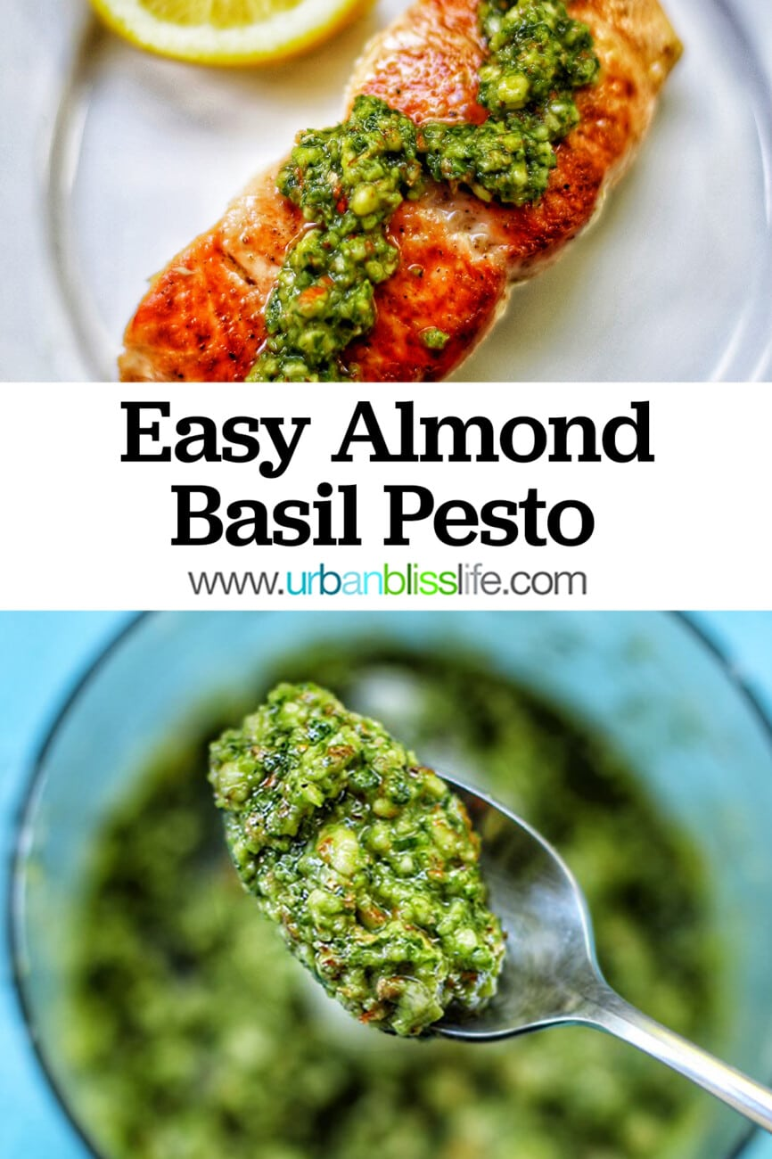 salmon with pesto and almond basil pesto on spoon with text overlay