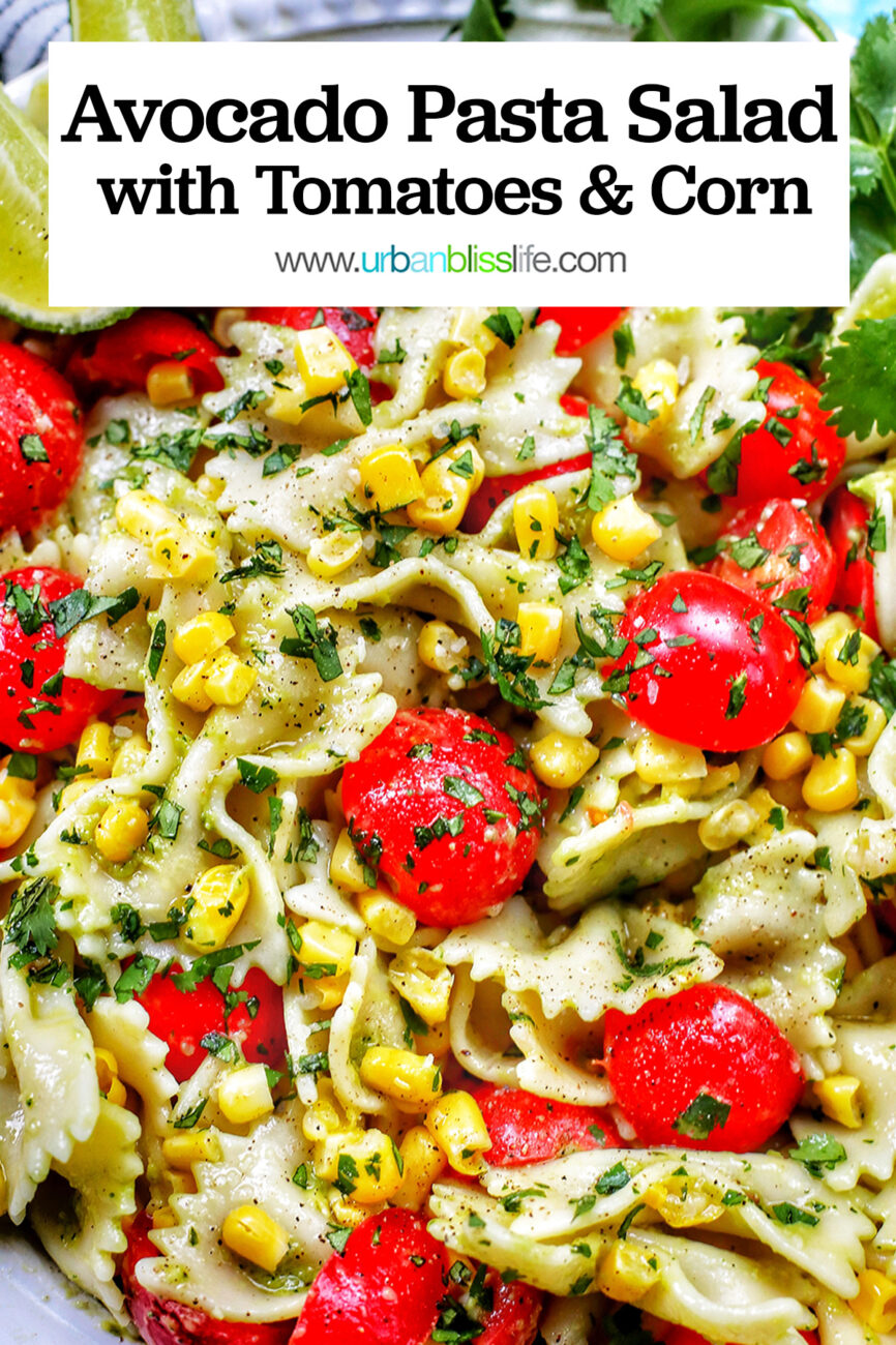 avocado salad with tomatoes and corn with text overlay