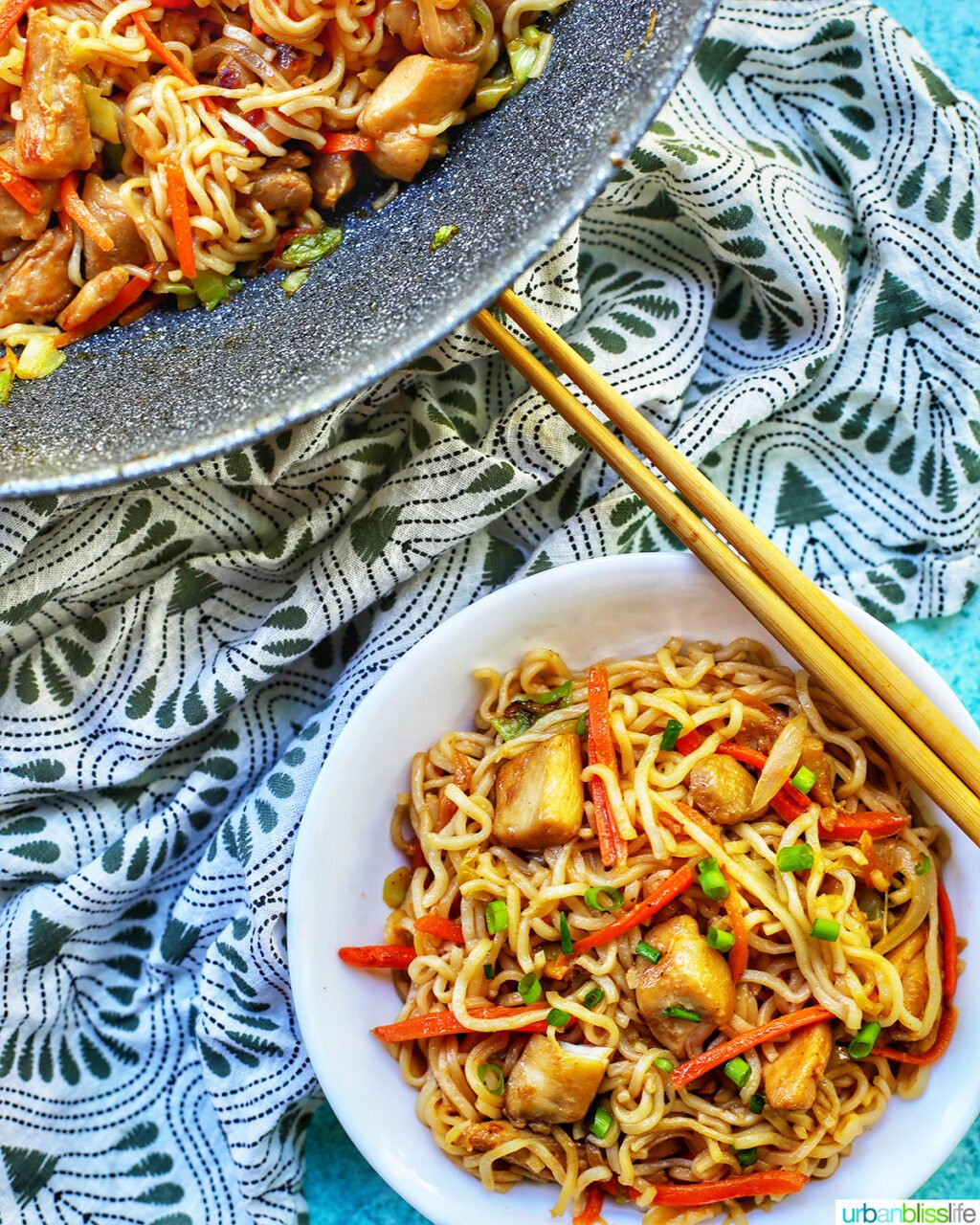 bowl and wok with chicken yakisoba