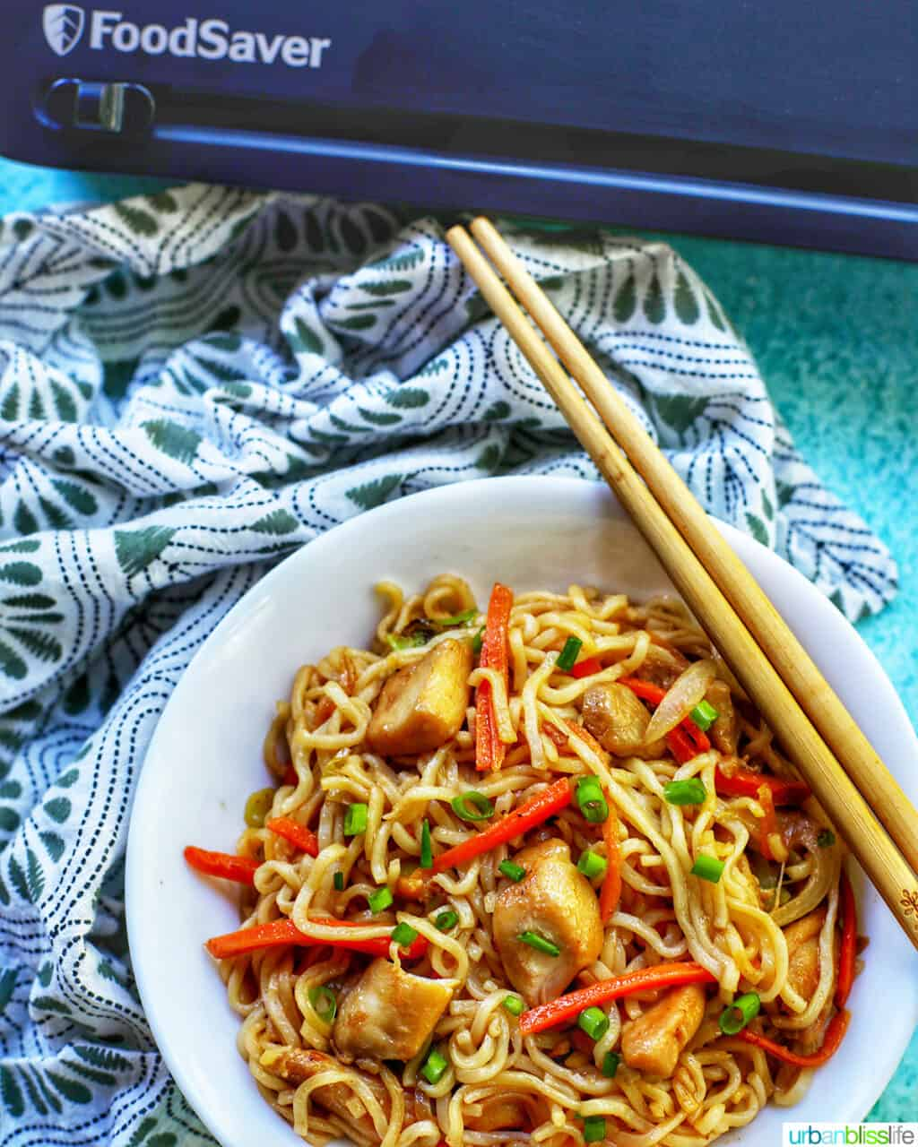 bowl of chicken yakisoba with FoodSaver