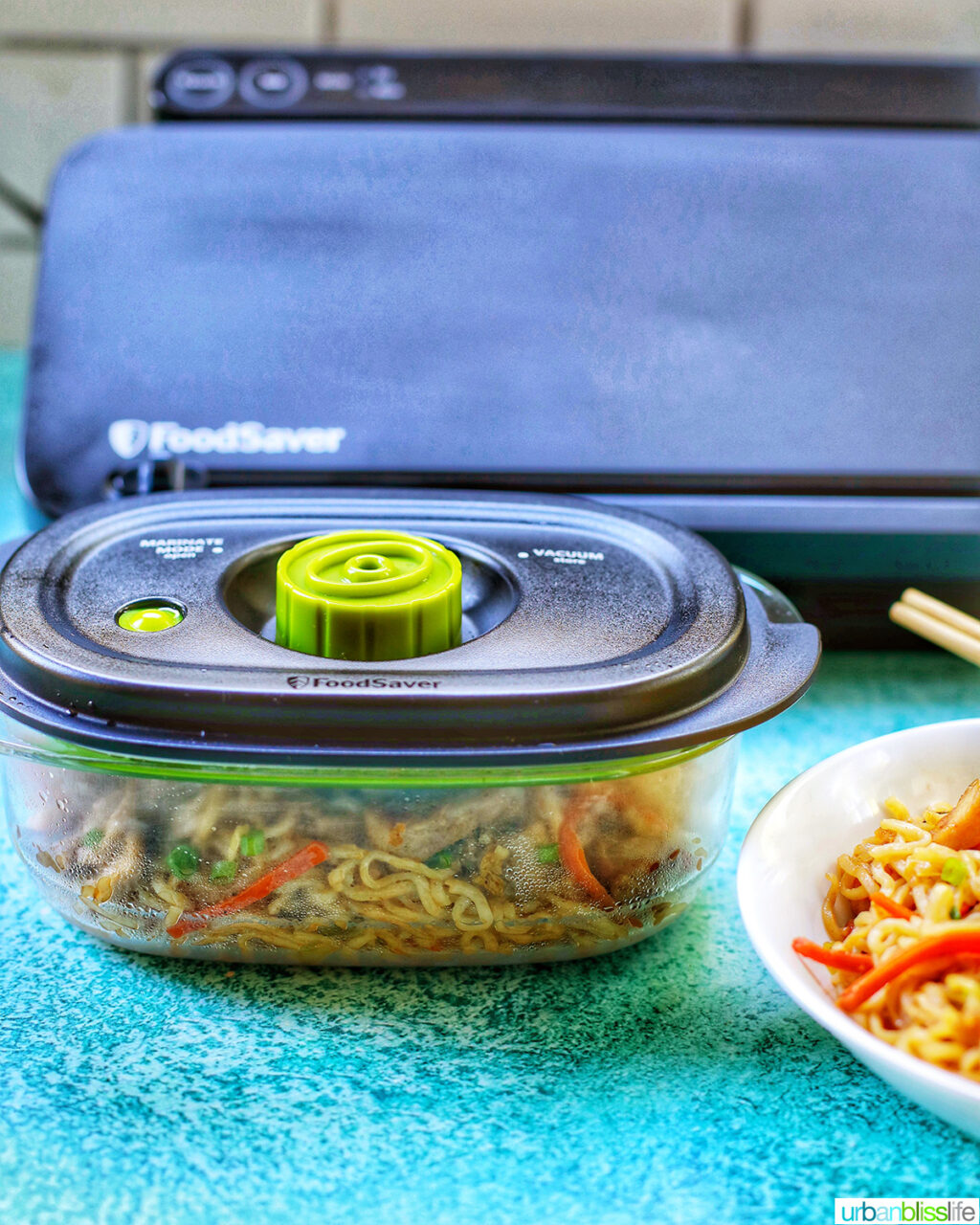 chicken yakisoba in FoodSaver containers