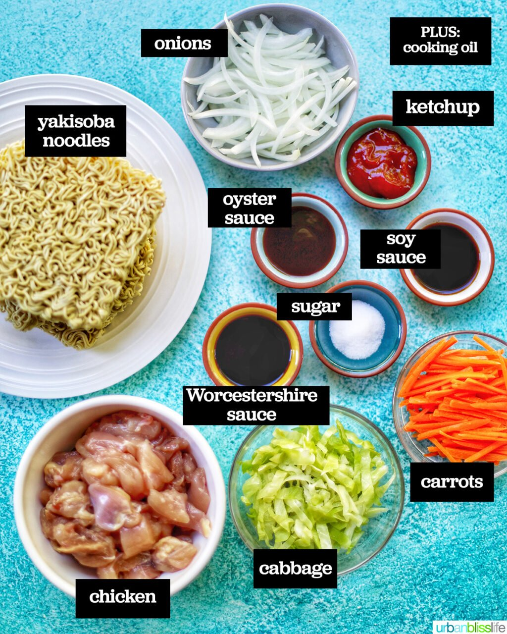 ingredients for chicken yakisoba