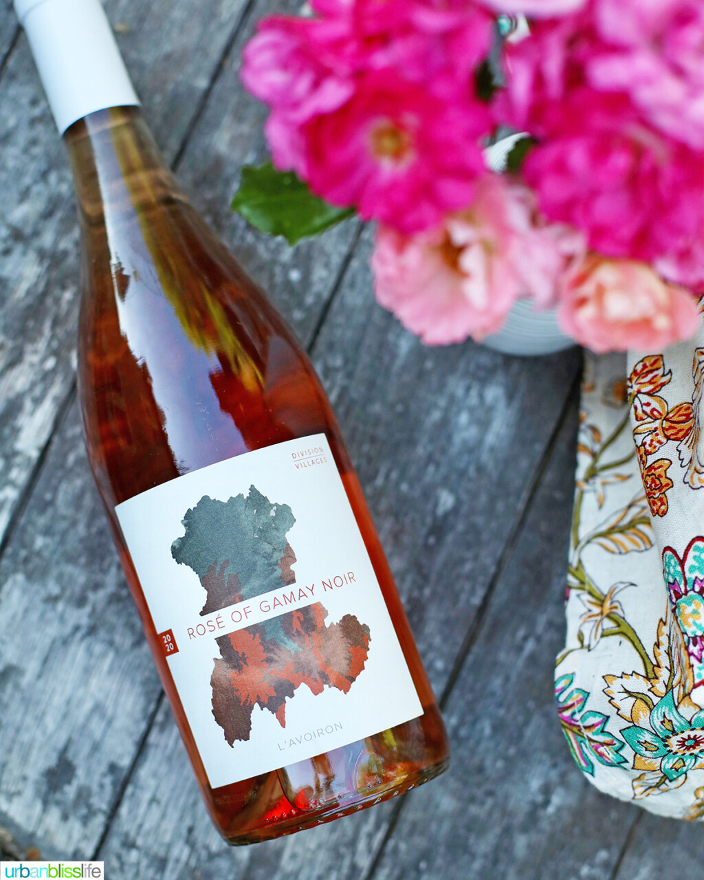 bottle of Division Wine Company rose of Gamay Noir