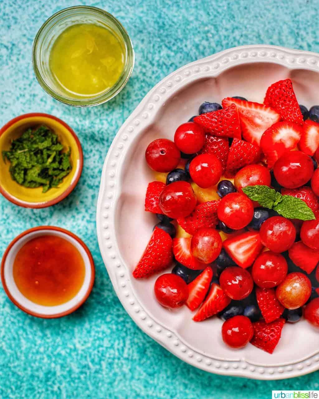 making simple fruit salad bowls of ingredients