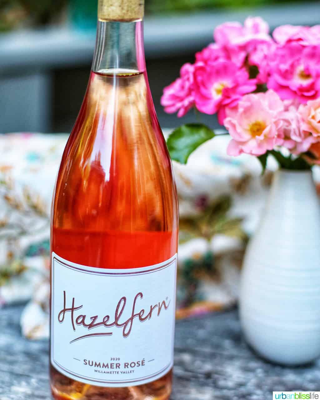 bottle of Hazelfern Cellars rose wine