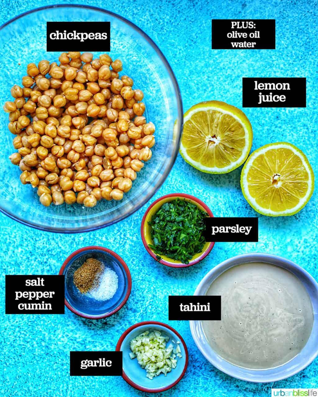ingredients to make classic hummis