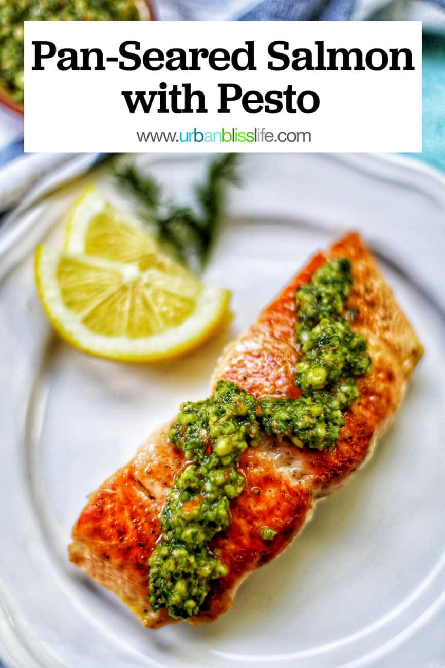 pan-seared salmon with pesto and text overlay
