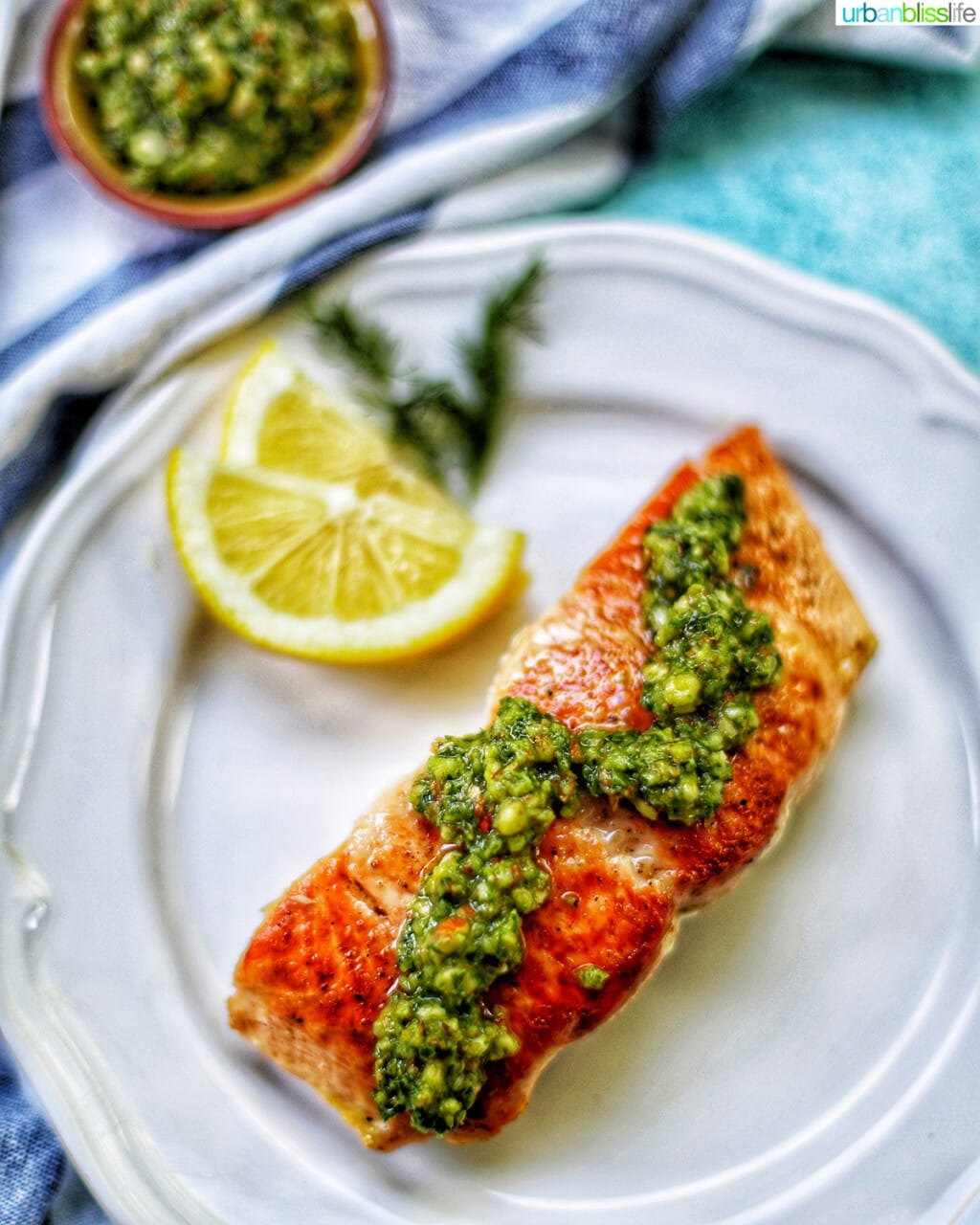 pan-seared salmon with almond basil pesto