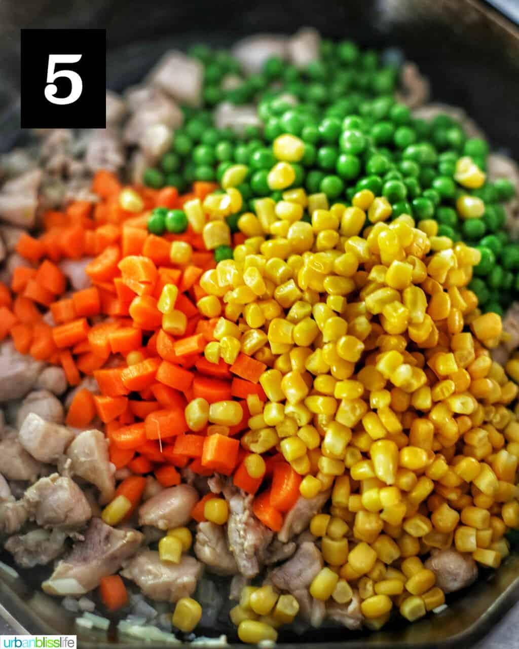 carrots corn peas in pan