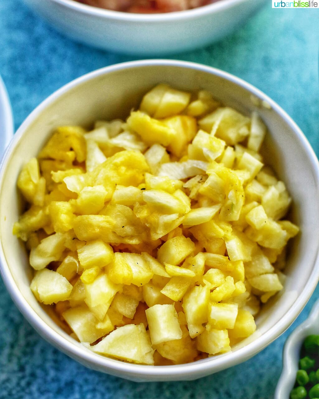 bowl of crushed chopped pineapples