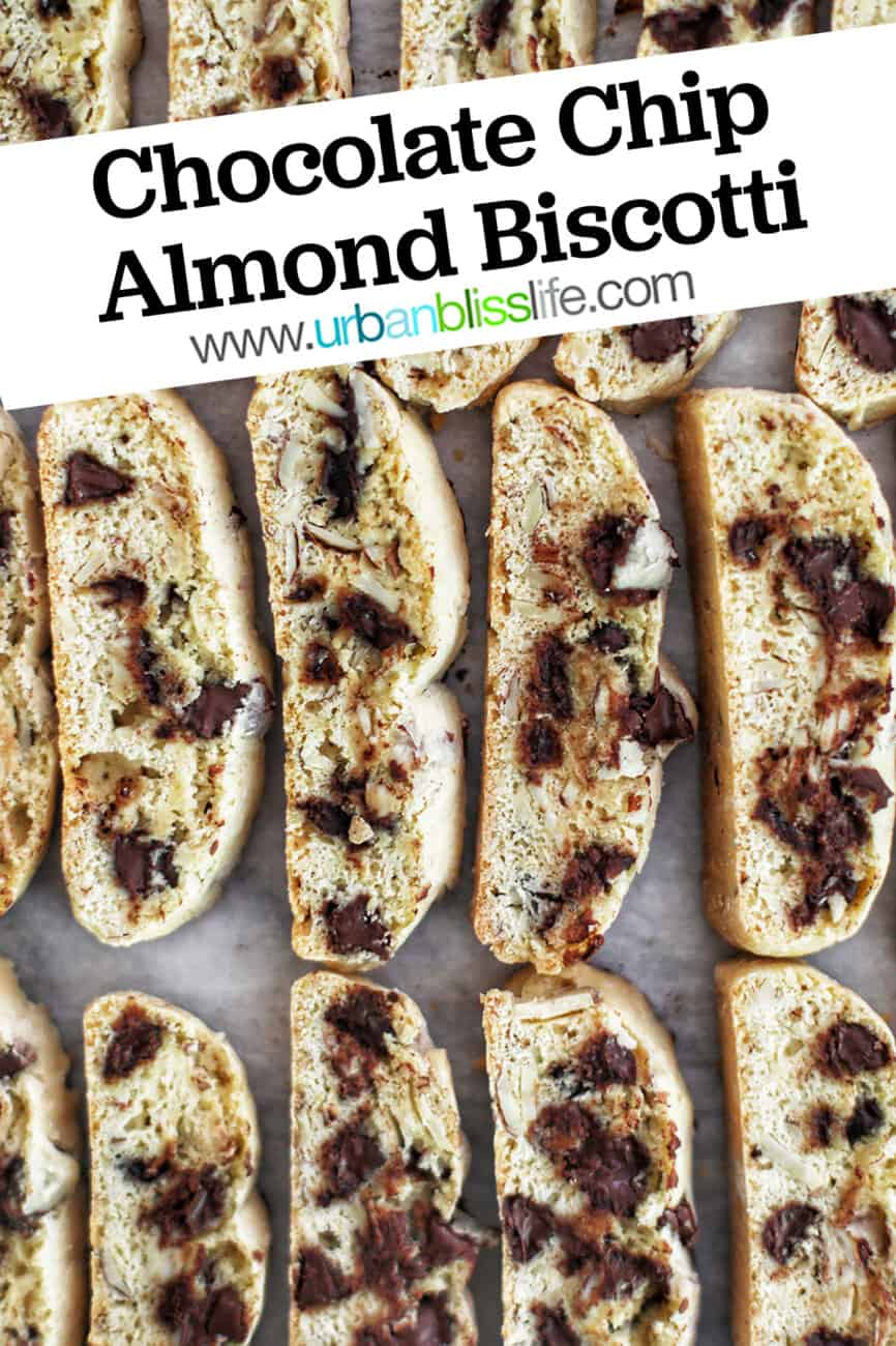 baking sheet of chocolate chip almond biscotti with text overlay