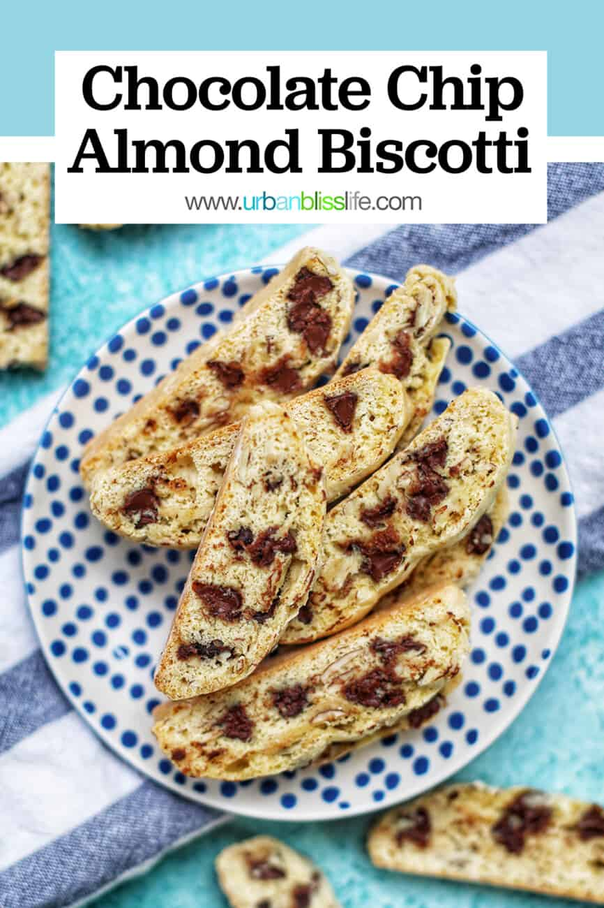 plate of chocolate chip almond biscotti with text overlay