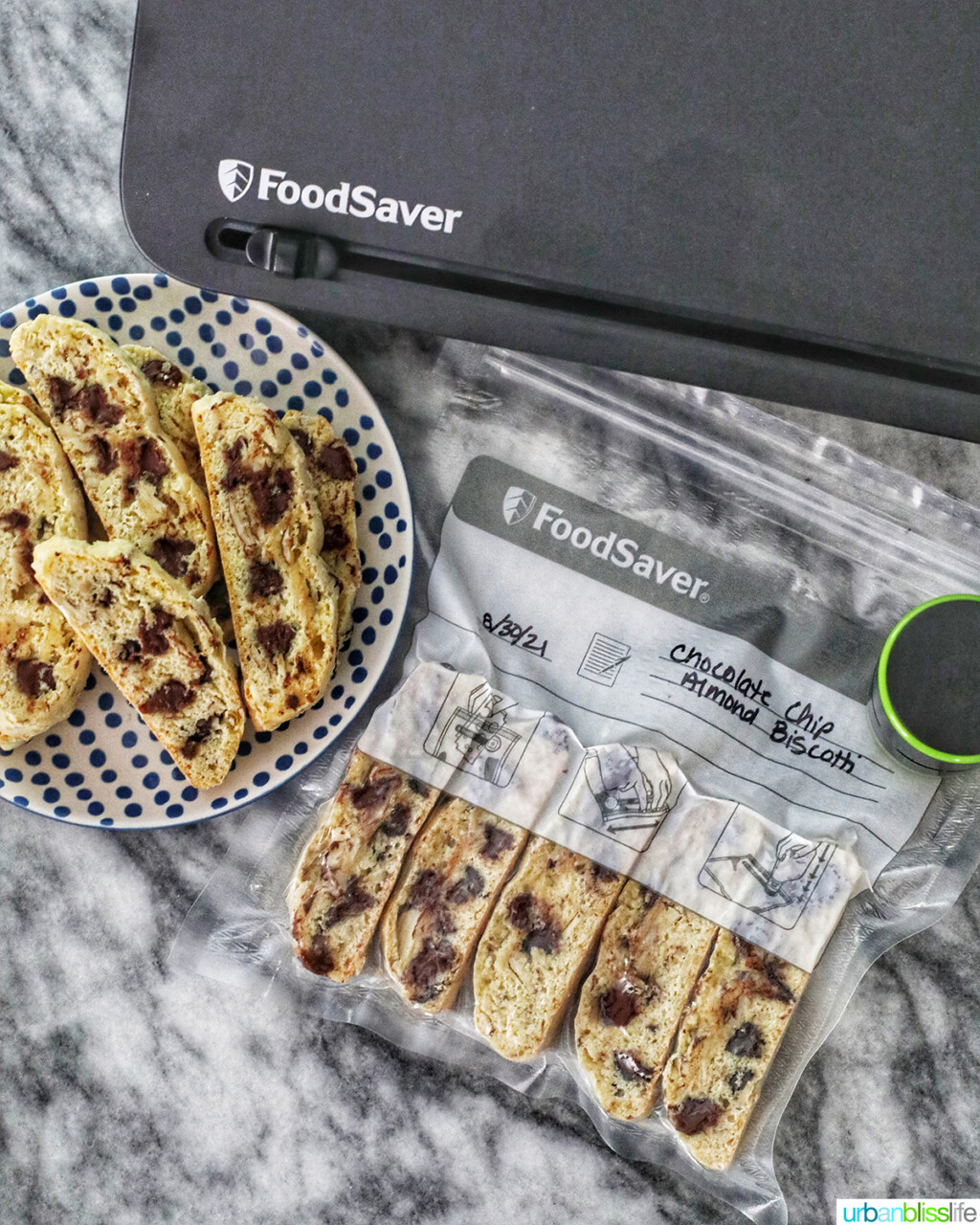 chocolate chip almond biscotti with FoodSaver bags