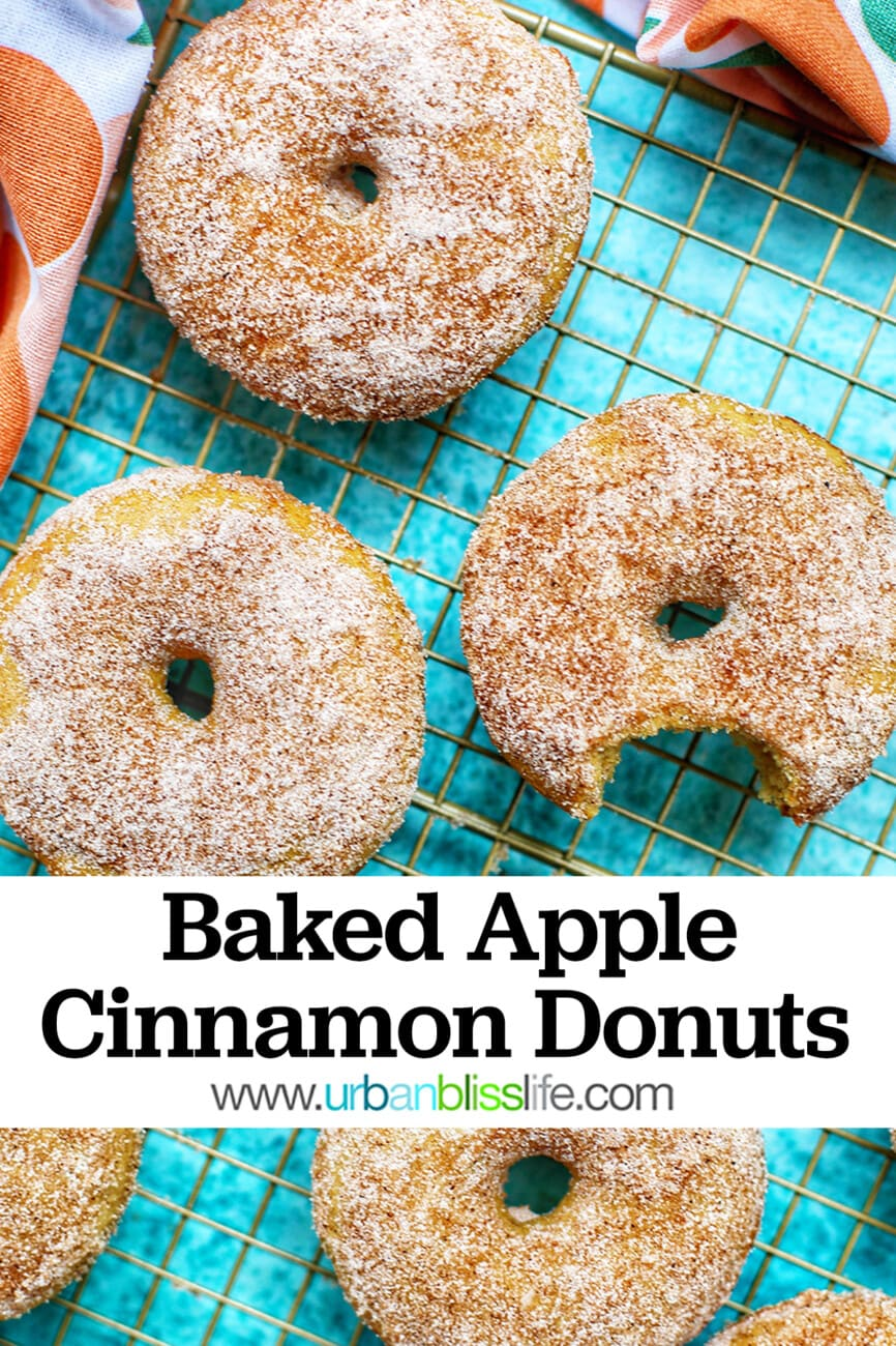 Baked Apple Cinnamon Donuts with text overlay for Pinterest