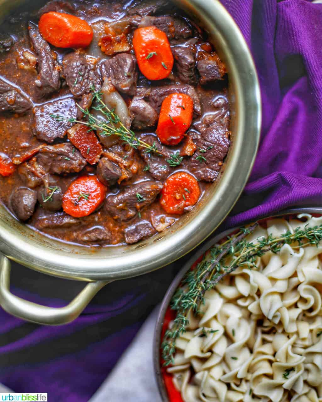 bowl of beef bourguignon with pasta