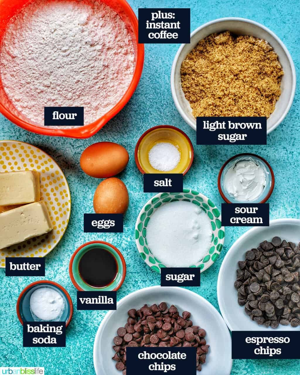 ingredients to make batter for brown butter chocolate chip cookies