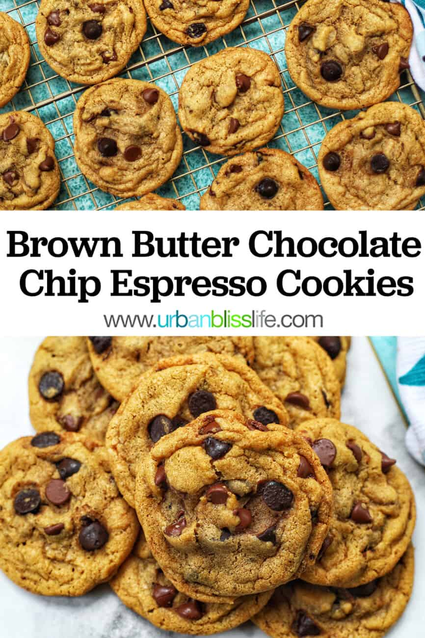 batter for brown butter chocolate chip cookies with text overlay