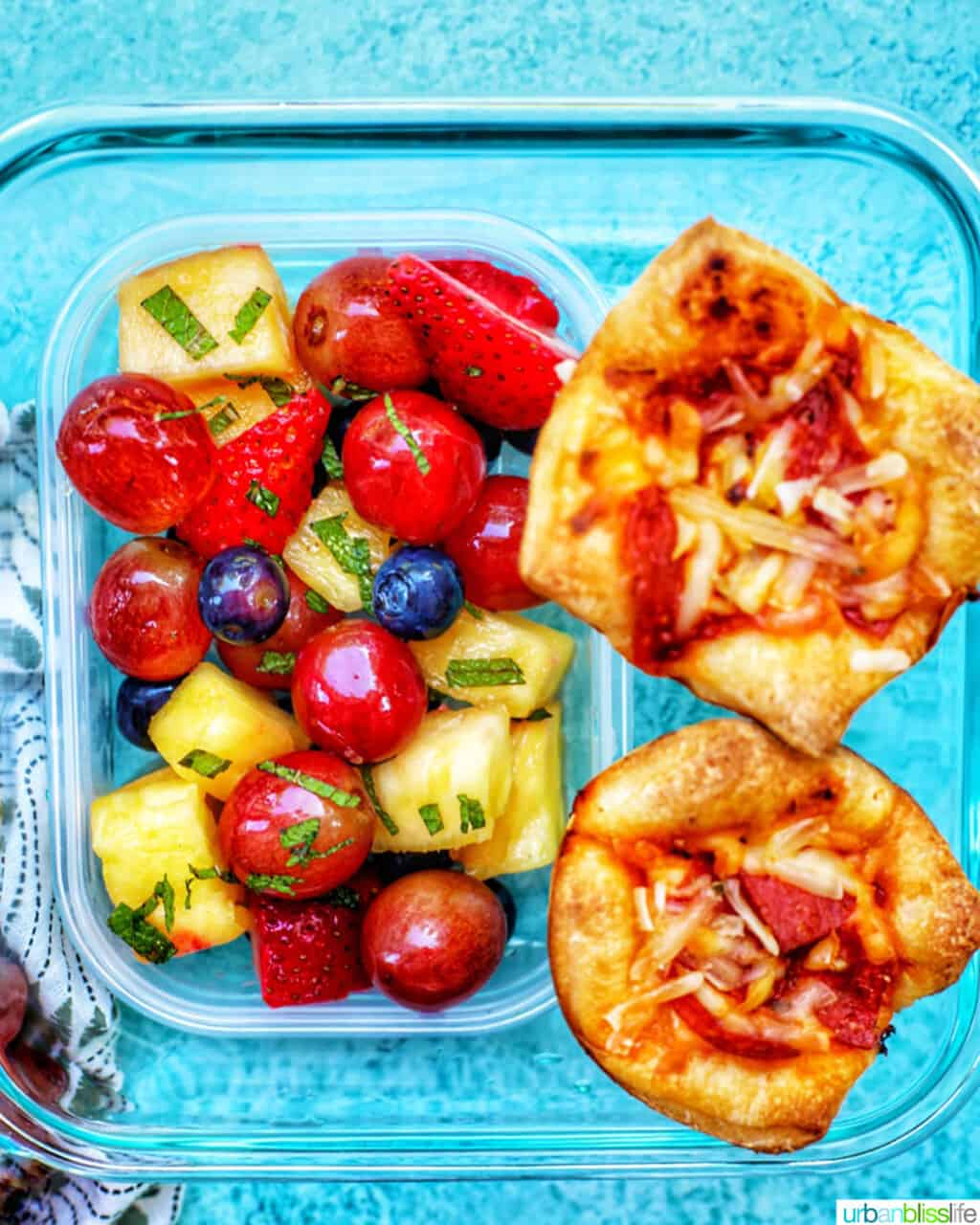 pizza cups with fruit salad