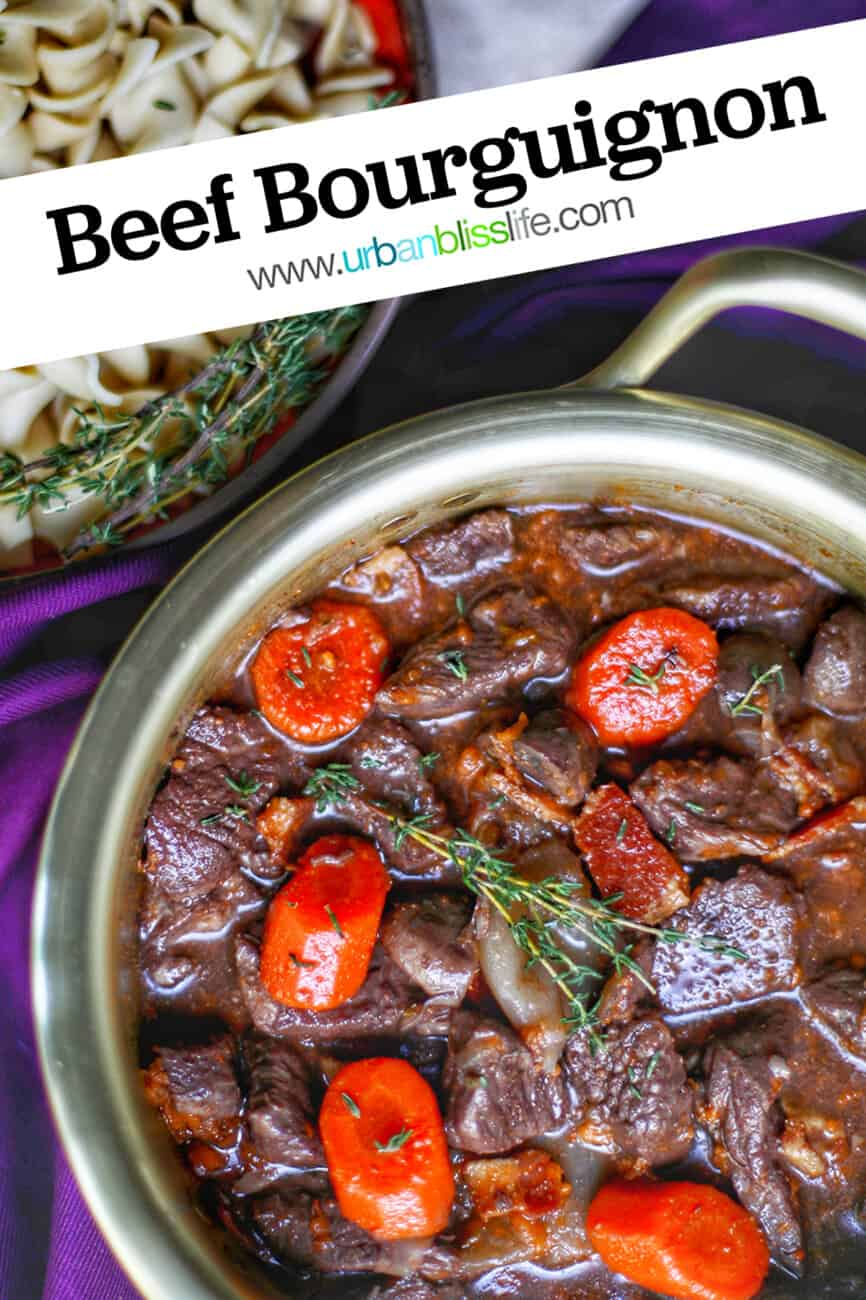 French Beef Bourguignon with text overlay