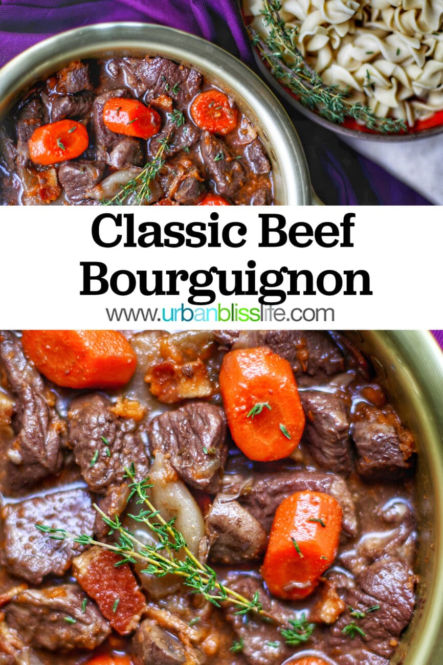 bowls of Beef Bourguignon with text overlay