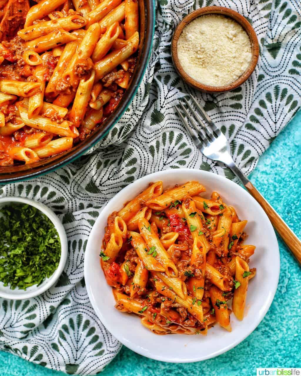 bowl of dairy-free creamy ground beef pasta