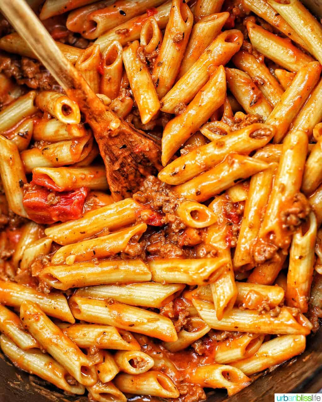 closeup of dairy-free creamy ground beef pasta