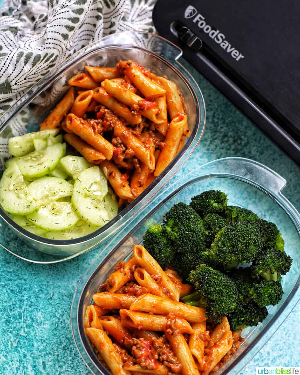 dairy-free creamy ground beef pasta in FoodSaver containers with veggies