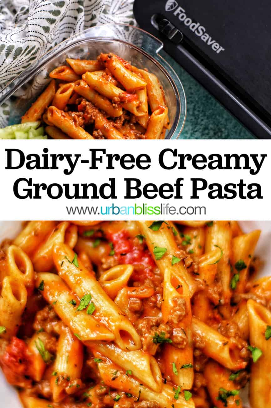ground beef pasta with text overlay