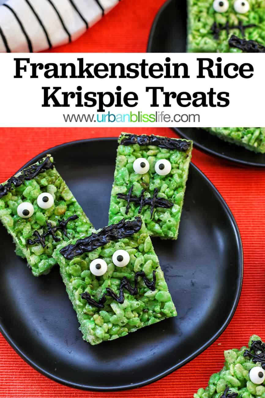 black plate of Frankenstein Rice Krispie Treats with Pinterest text