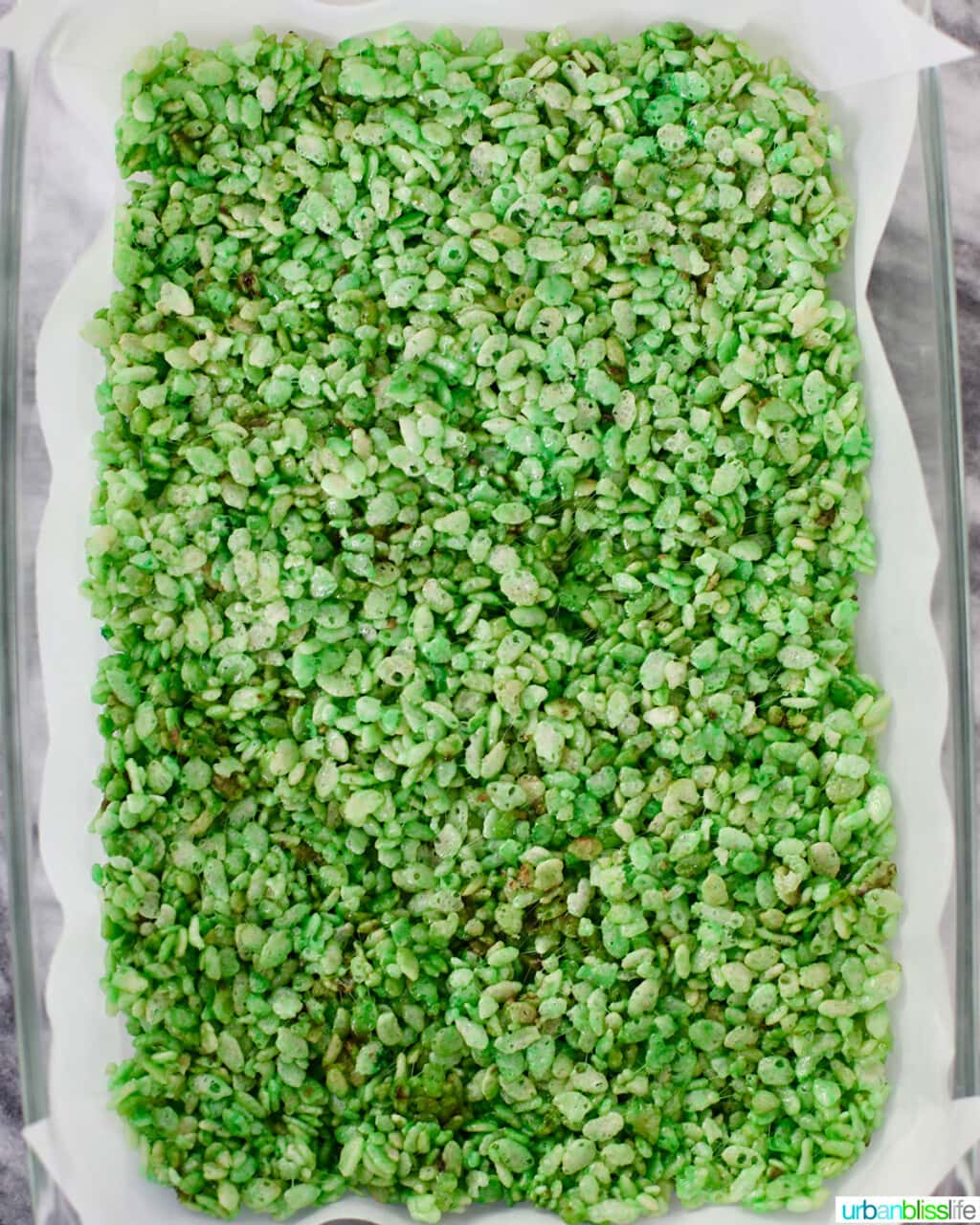 full pan of Frankenstein Rice Krispie Treats