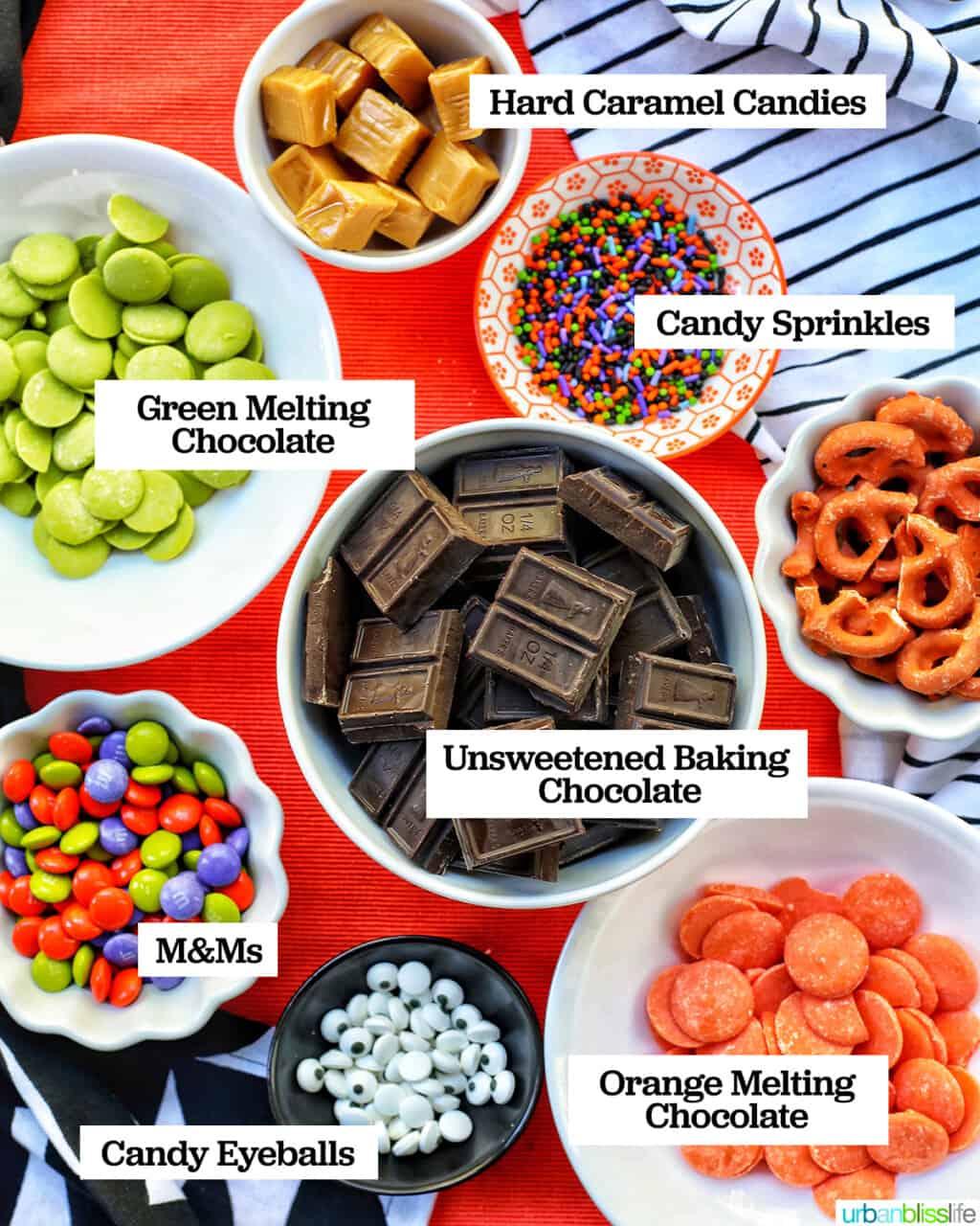 ingredients to make Monster Halloween Bark