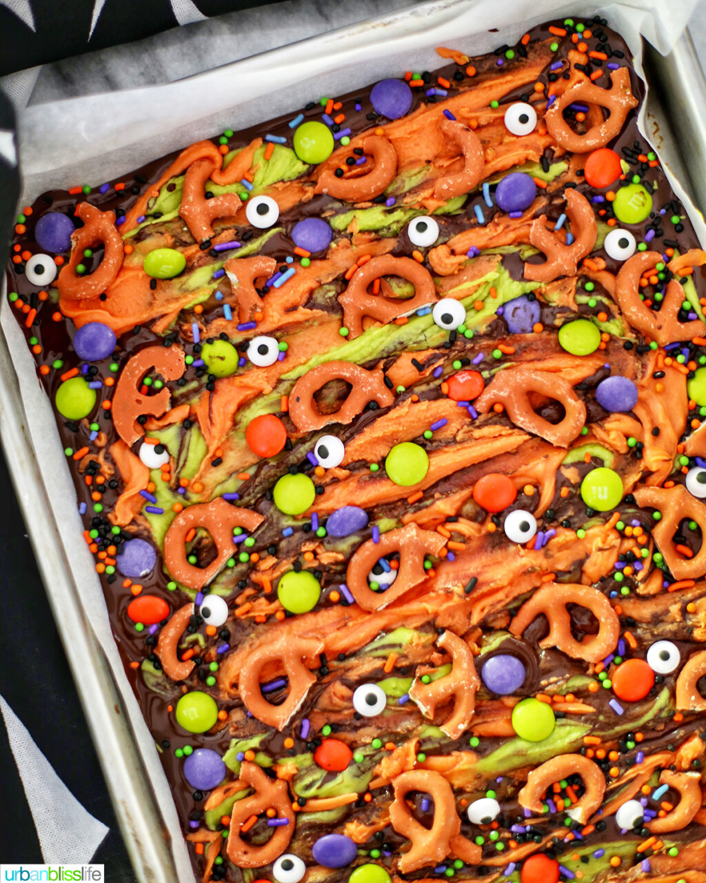 tray of Monster Halloween Bark
