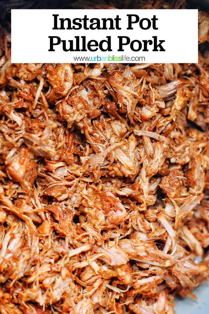 shredded pulled pork in an instant pot with text overlay