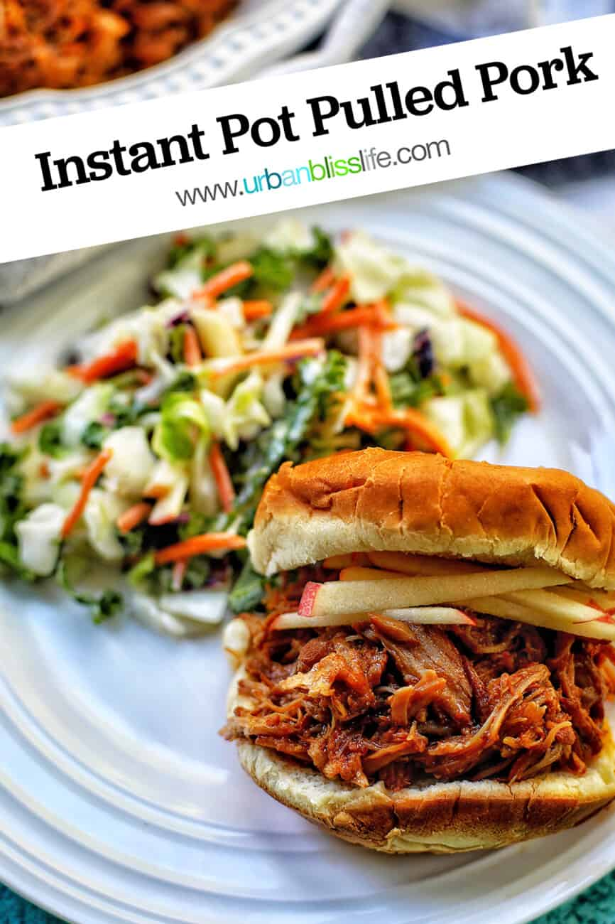 instant pot pulled pork sandwich with text overlay