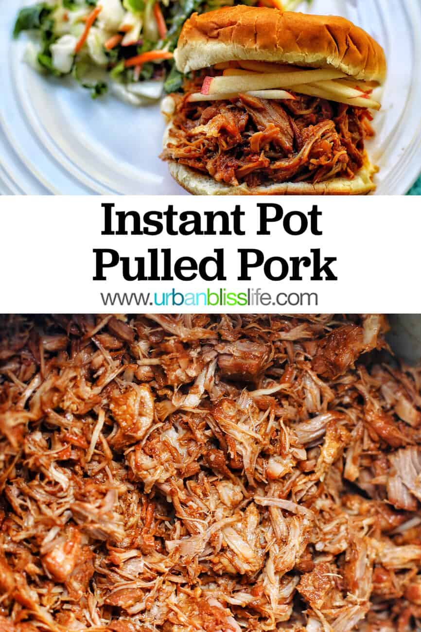 shredded pulled pork and a pulled pork sandwich with text overlay