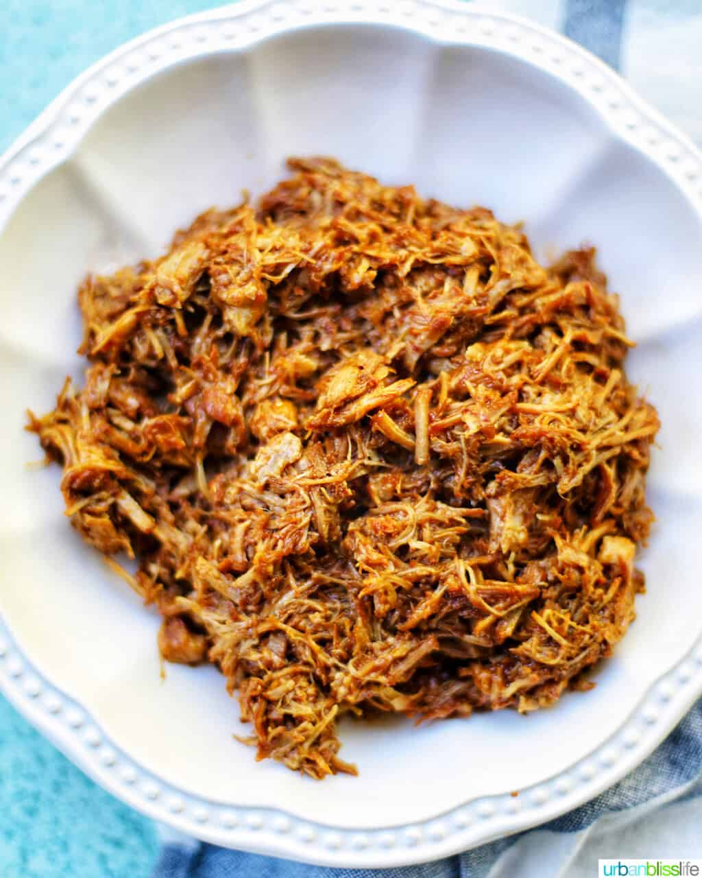 pulled pork in a white bowl