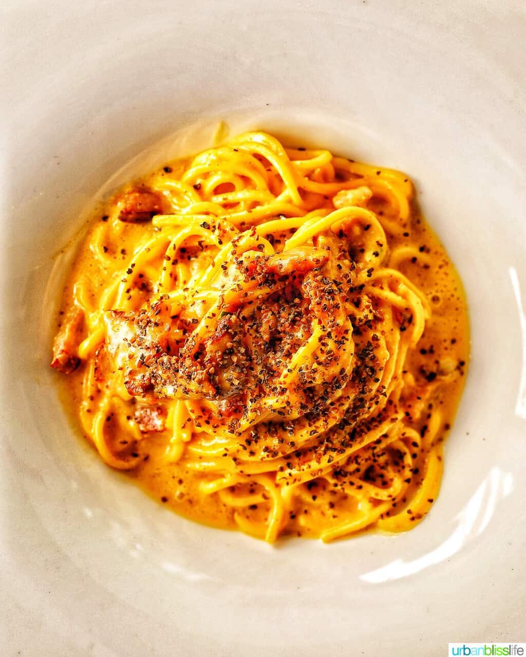 bowl of spaghetti carbonara