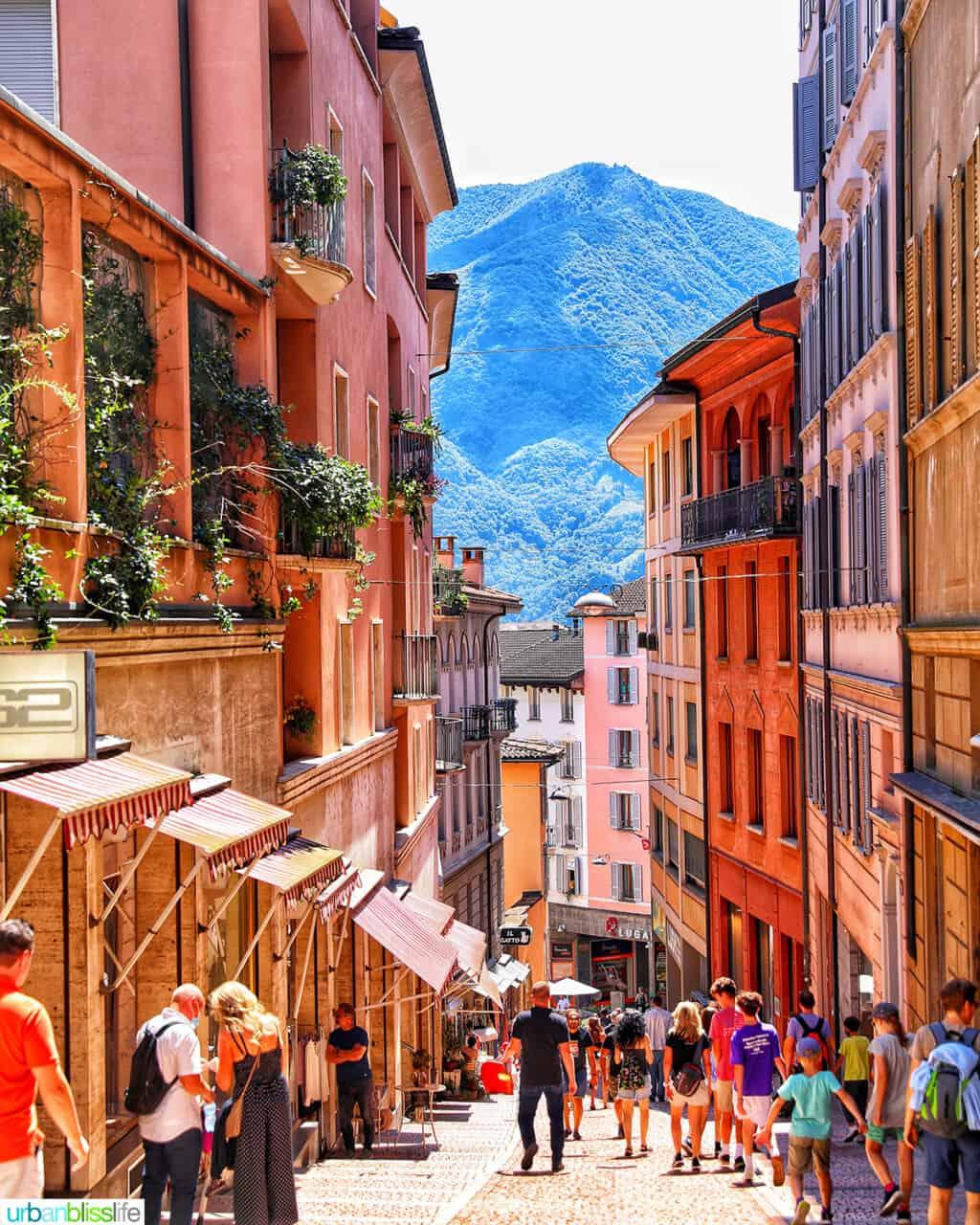 colorful steep street in Lugano, Switzerland