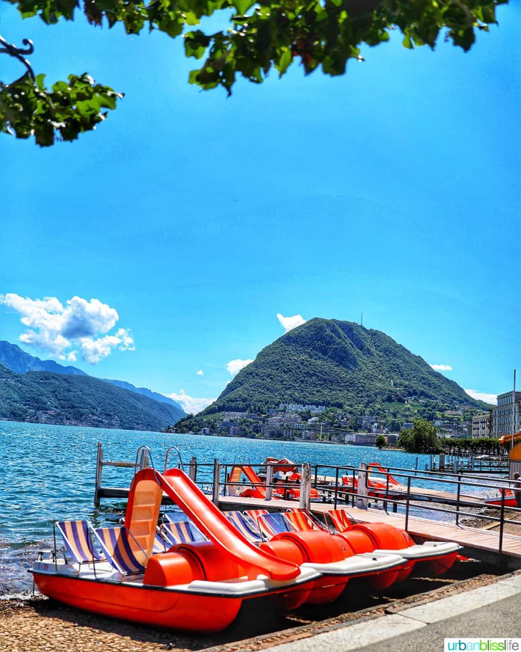 paddleboats on Lake Lugano
