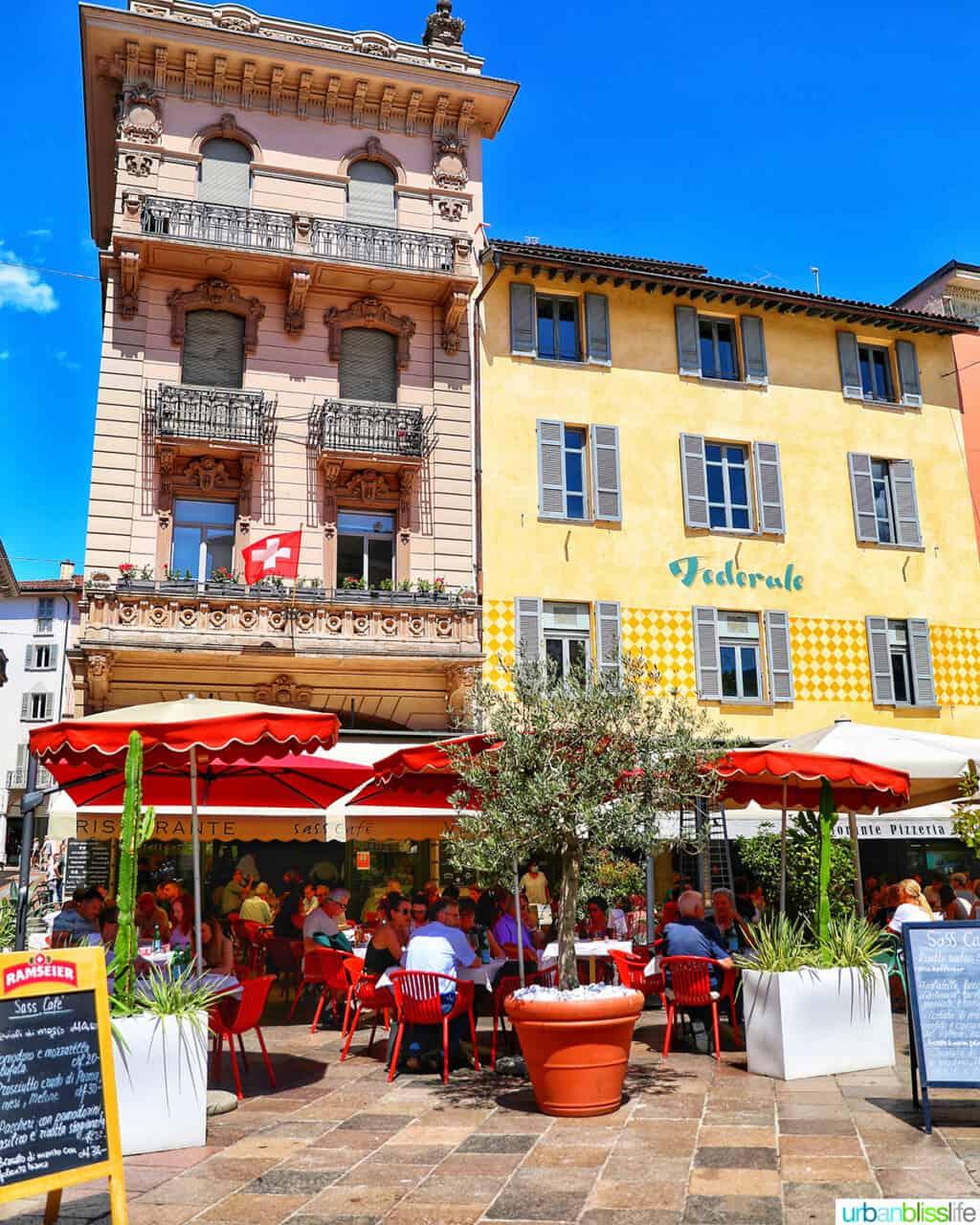 colorful restaurants in Lugano, Switzerland