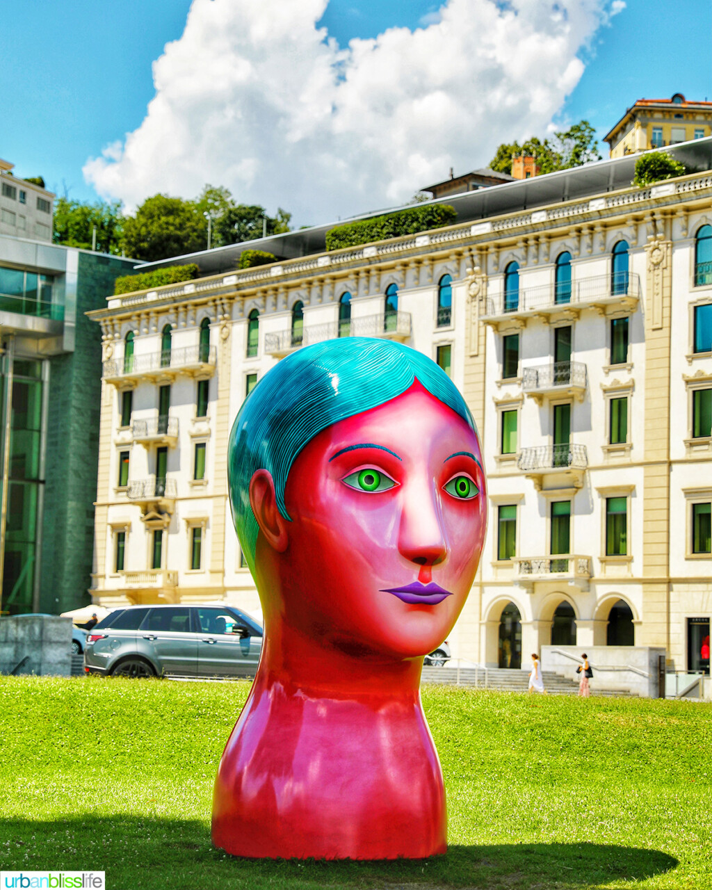 colorful art sculpture in Lugano Switzerland