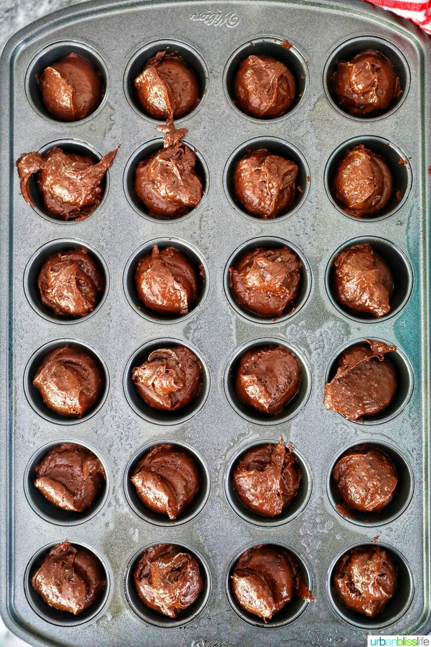 scooped brownie batter into mini muffin pan