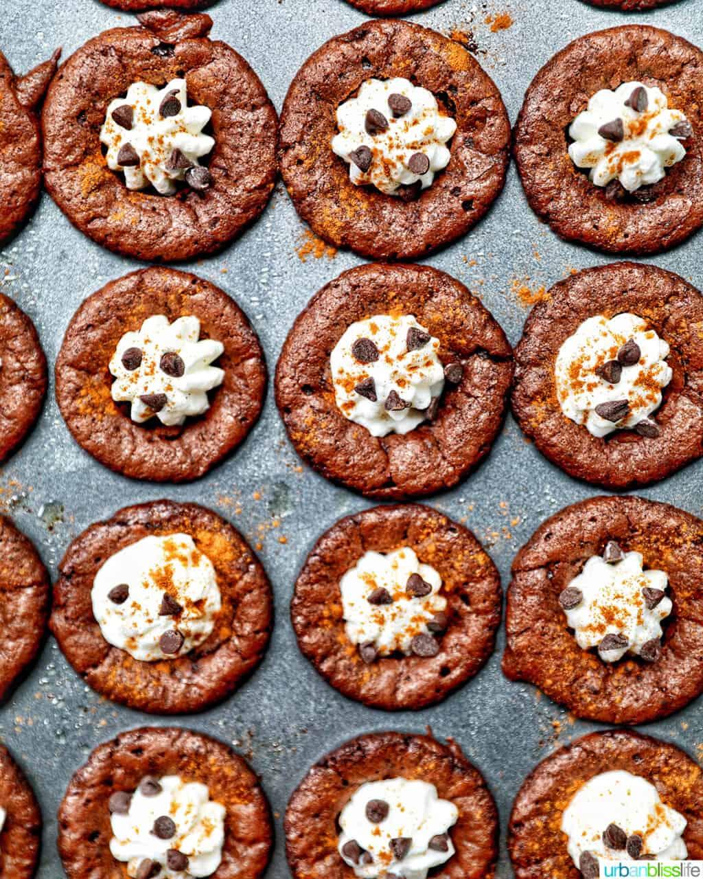 Mini Brownie Bites Eggnog Whipped Cream in baking pan