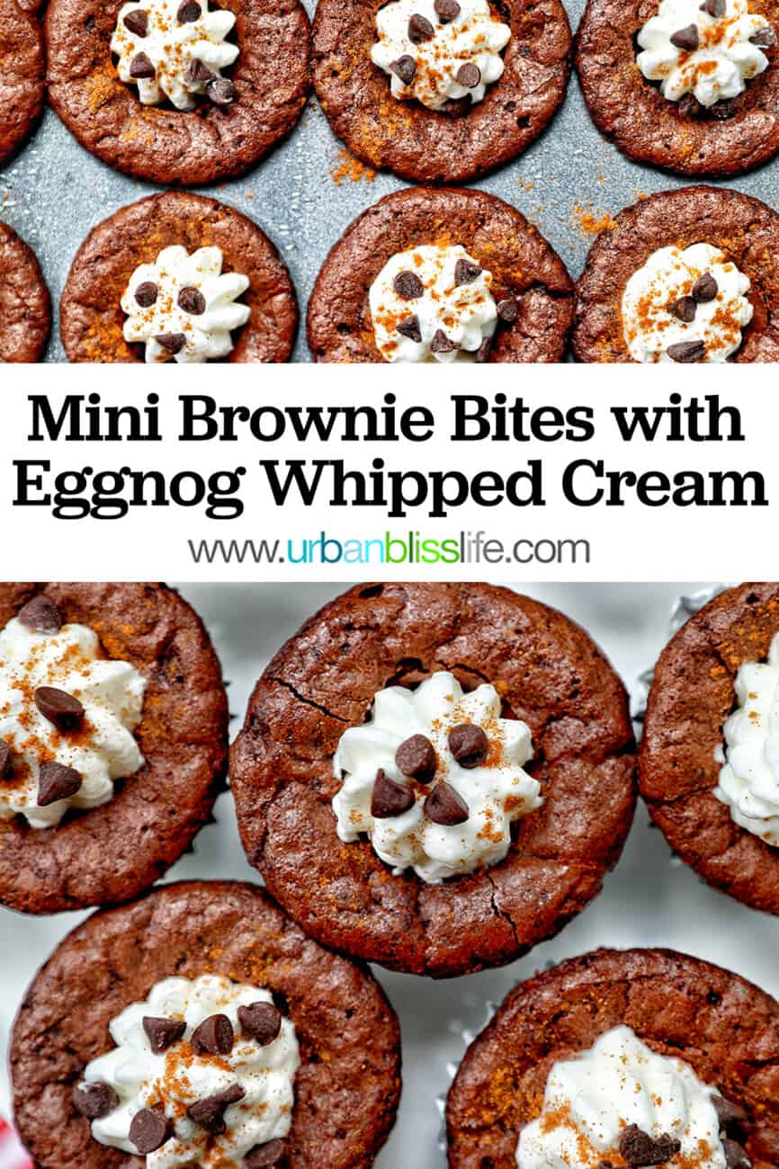 mini brownie bites eggnog whipped cream with text
