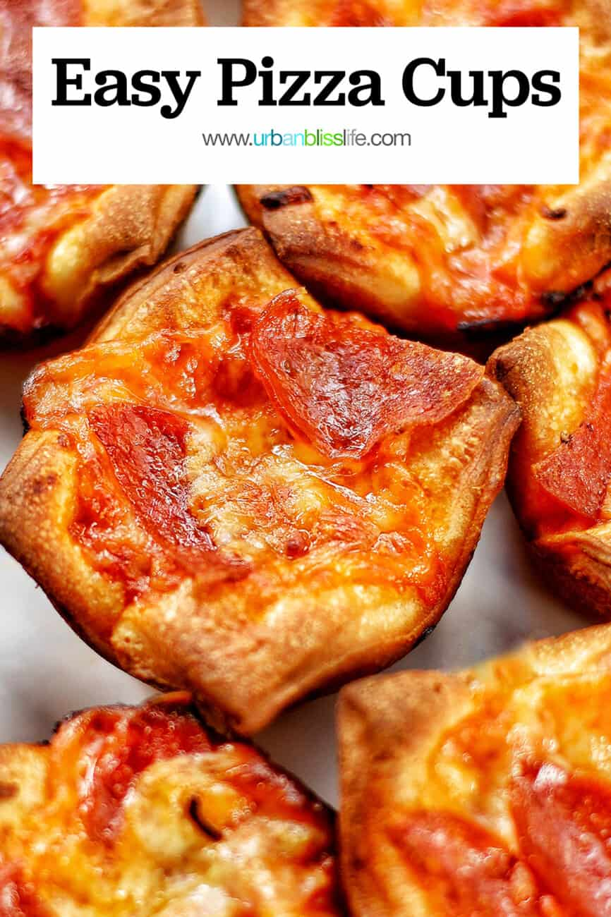 muffin pan pizza cups with text overlay