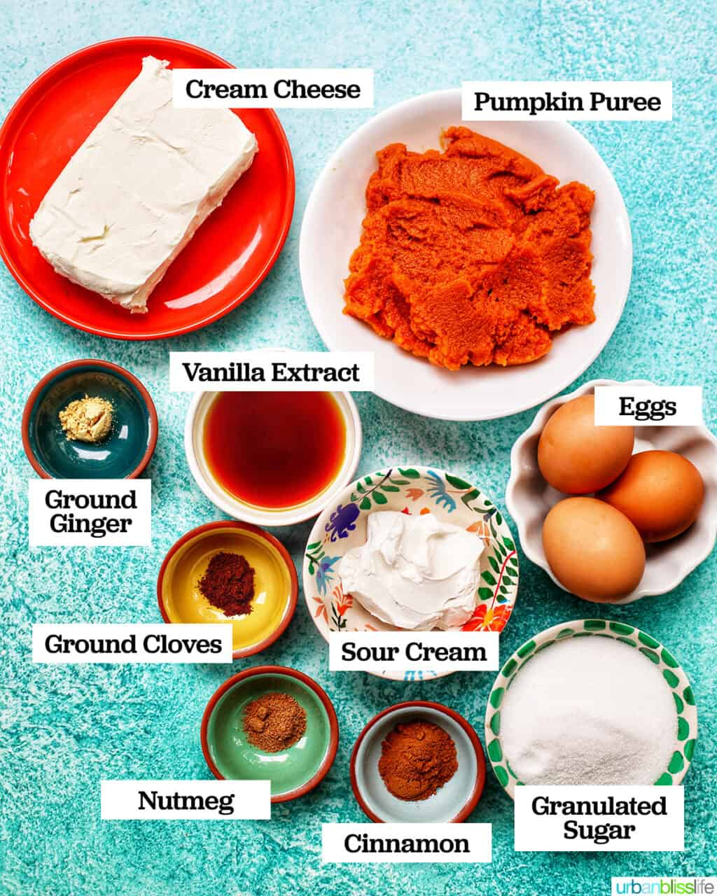Pumpkin Cheesecake Bars with Gingersnap Crust - ingredients for the filling