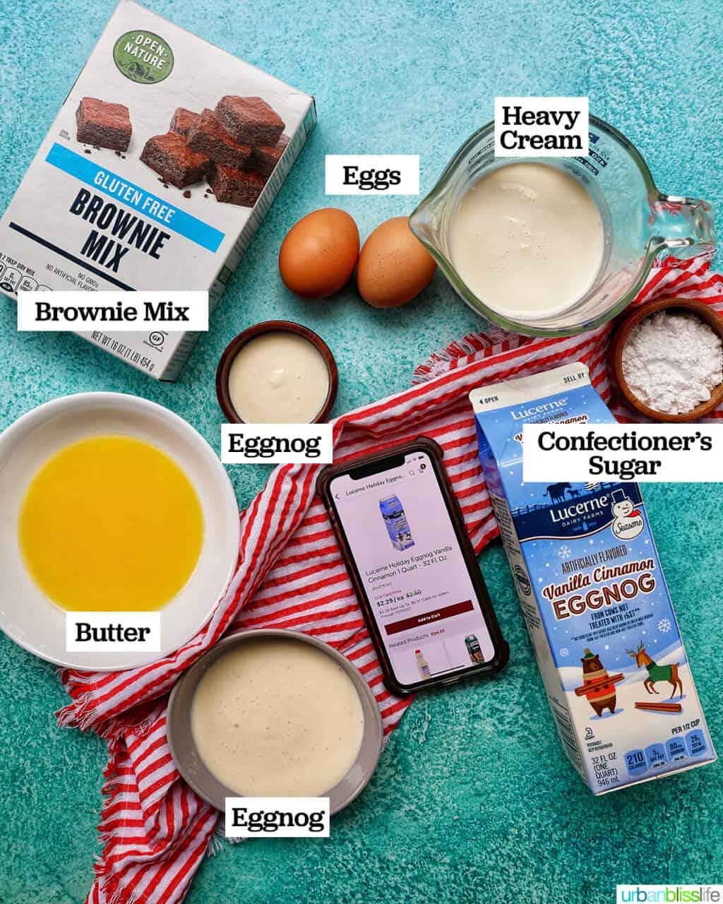 ingredients to make mini brownie bites eggnog whipped cream